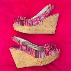 Multicolored Woven Cork Wedges